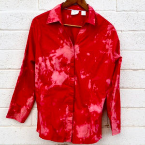 Tied Dye Tie Dye Red Lee Easy Care Large Shirt